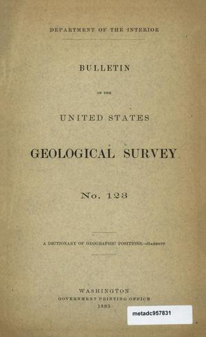 Primary view of object titled 'A Dictionary of Geographic Positions in the United States'.