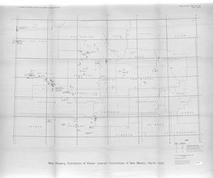Primary view of object titled 'Map Showing Distribution of Known Uranium Occurrences in New Mexico (North Half)'.