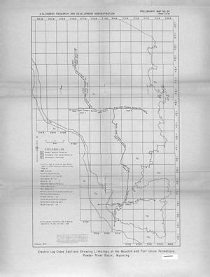 Primary view of object titled 'Electric Log Cross Sections Showing Lithology of the Wasatch and Fort Union Formations, Sheridan to Wyodak, Powder River Basin, Wyoming: [Map Index]'.