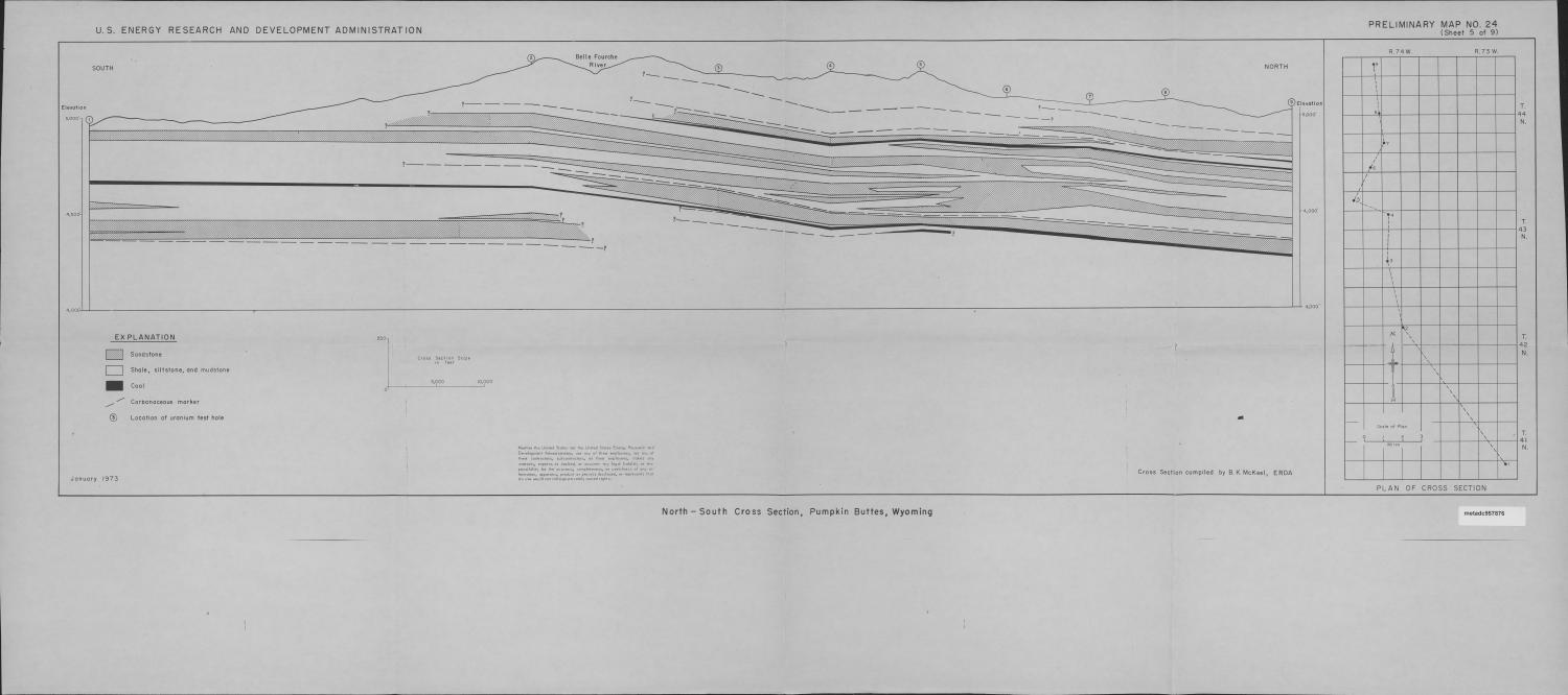 North-South Cross Section, Pumpkin Buttes, Wyoming                                                                                                      Map