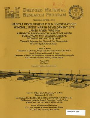 Primary view of object titled 'Habitat Development Field Investigations, Windmill Point Marsh Development Site, James River, Virginia: Appendix F, Volume 2'.