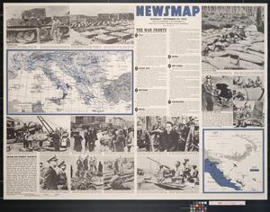 Primary view of object titled 'Newsmap. Monday, September 20, 1943 : week of September 9 to September 16, 210th week of the war, 92nd week of U.S. participation'.