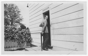 Primary view of object titled '[Stan Kenton Outside the Spinning Room]'.