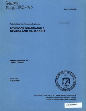 Primary view of object titled 'National Uranium Resource Evaluation: Lovelock Quadrangle, Nevada and California'.