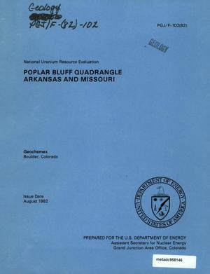 Primary view of object titled 'National Uranium Resource Evaluation: Poplar Bluff Quadrangle, Arkansas and Missouri'.