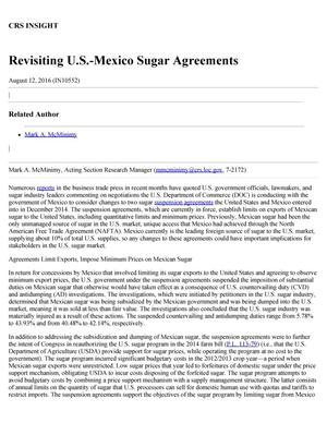 Primary view of object titled 'Revisiting U.S.-Mexico Sugar Agreements'.