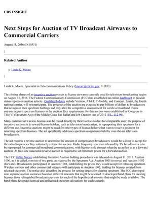 Primary view of object titled 'Next Steps for Auction of TV Broadcast Airwaves to Commercial Carriers'.