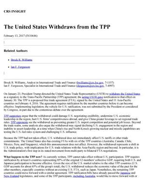 Primary view of object titled 'The United States Withdraws from the TPP'.