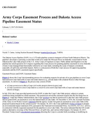 Primary view of object titled 'Army Corps Easement Process and Dakota Access Pipeline Easement Status'.