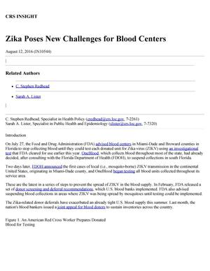 Primary view of object titled 'Zika Poses New Challenges for Blood Centers'.