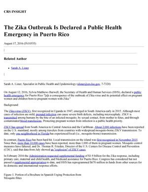 Primary view of object titled 'The Zika Outbreak Is Declared a Public Health Emergency in Puerto Rico'.
