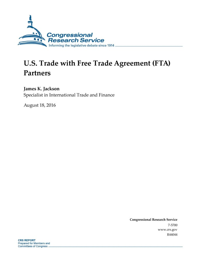 Us Trade With Free Trade Agreement Fta Partners Digital Library