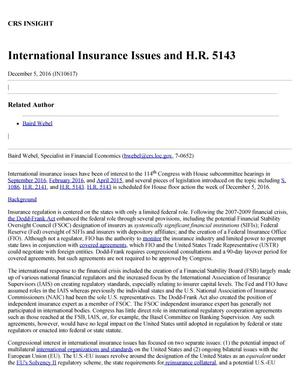 Primary view of object titled 'International Insurance Issues and H.R. 5143'.