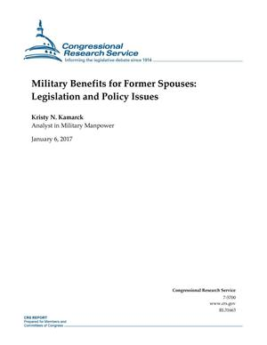 Primary view of object titled 'Military Benefits for Former Spouses: Legislation and Policy Issues'.