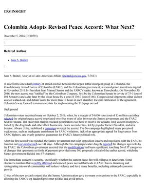 Primary view of object titled 'Colombia Adopts Revised Peace Accord: What Next?'.