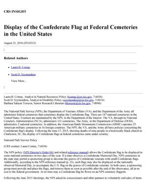 Primary view of object titled 'Display of the Confederate Flag at Federal Cemeteries in the United States'.