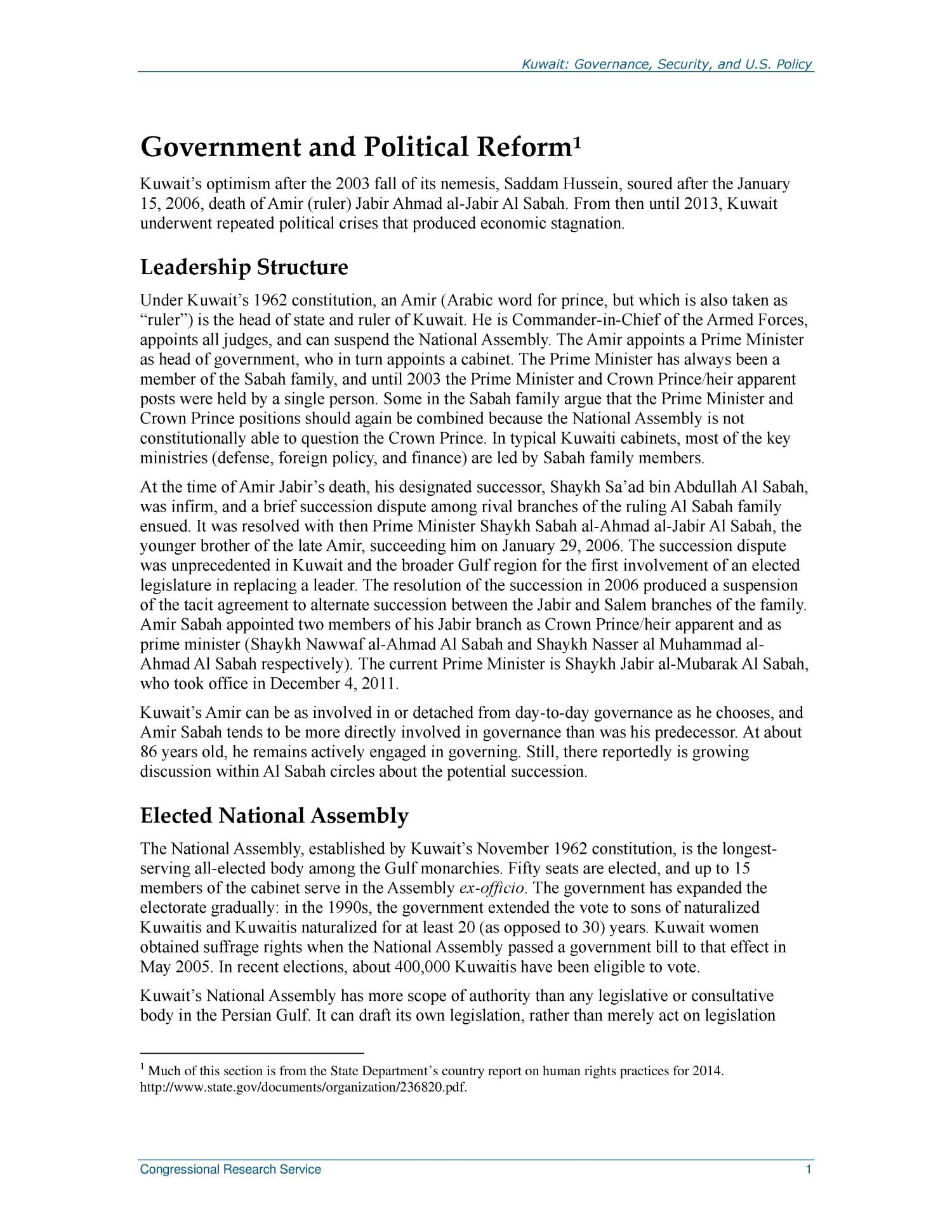 Kuwait: Governance, Security, and U.S. Policy                                                                                                      [Sequence #]: 4 of 26