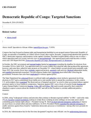 Primary view of object titled 'Democratic Republic of Congo: Targeted Sanctions'.