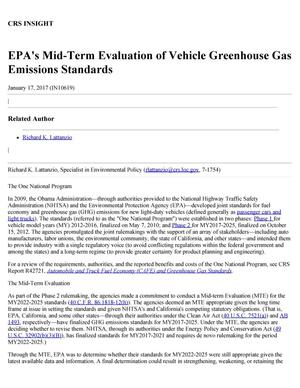 Primary view of object titled 'EPA's Mid-Term Evaluation of Vehicle Greenhouse Gas Emissions Standards'.