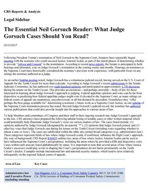 Primary view of object titled 'The Essential Neil Gorsuch Reader: What Judge Gorsuch Cases Should You Read?'.
