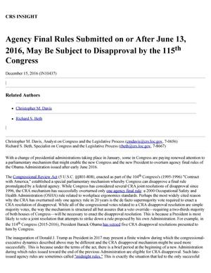 Primary view of object titled 'Agency Final Rules Submitted on or After June 13, 2016, May Be Subject to Disapproval by the 115th Congress'.
