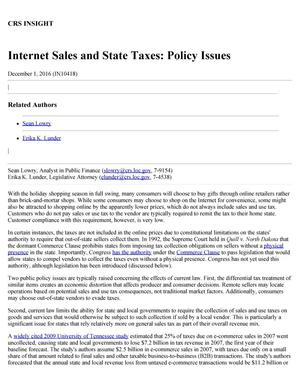 Primary view of object titled 'Internet Sales and State Taxes: Policy Issues'.