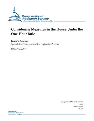 Primary view of object titled 'Considering Measures in the House Under the One-Hour Rule'.