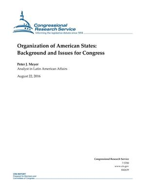 Primary view of object titled 'Organization of American States: Background and Issues for Congress'.