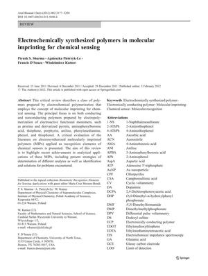Primary view of object titled 'Electrochemically synthesized polymers in molecular imprinting for chemical sensing'.