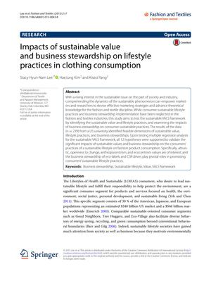 Primary view of object titled 'Impacts of sustainable value and business stewardship on lifestyle practices in clothing consumption'.