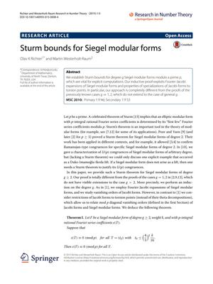 Primary view of object titled 'Sturm bounds for Siegel modular forms'.
