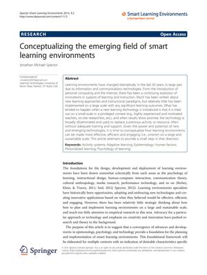 Primary view of object titled 'Conceptualizing the emerging field of smart learning environments'.