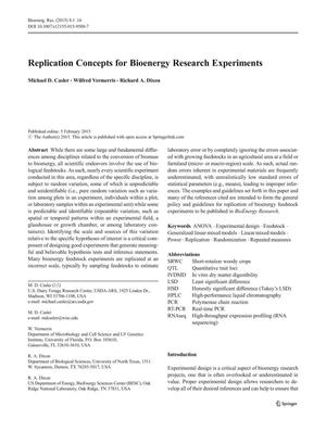 Primary view of object titled 'Replication Concepts for Bioenergy Research Experiments'.
