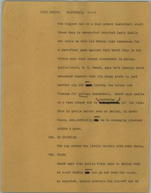 Primary view of object titled '[News Script: High school basetball]'.