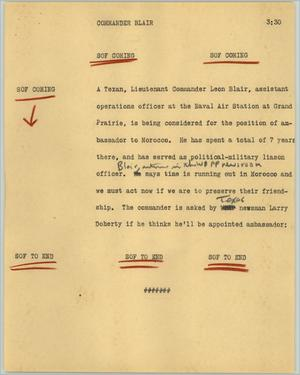 Primary view of object titled '[News Script: Commander Blair]'.