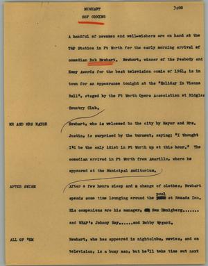 Primary view of object titled '[News Script: Newhart]'.