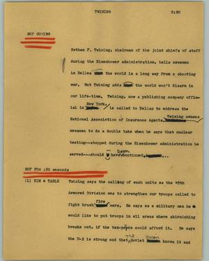 Primary view of object titled '[News Script: Twining]'.