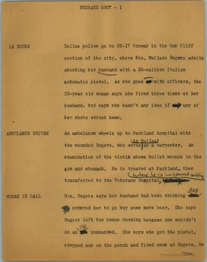Primary view of object titled '[News Script: Husband shot]'.