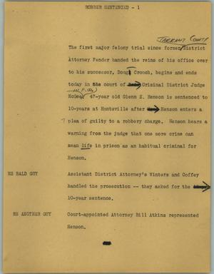 Primary view of object titled '[News Script: Robber sentenced]'.