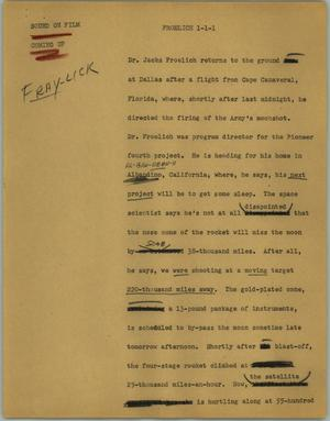 Primary view of object titled '[News Script: Froelich]'.