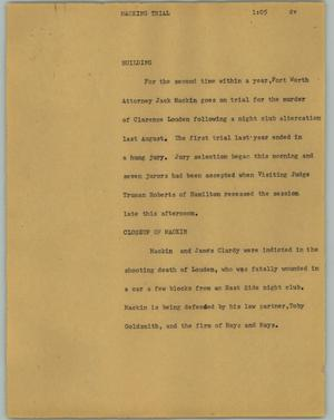 Primary view of object titled '[News Script: Macking trial]'.
