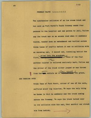 Primary view of object titled '[News Script: Freeway major]'.