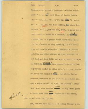 Primary view of object titled '[News Script: Fred Wallace]'.