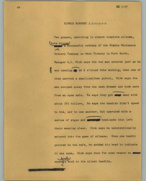 Primary view of object titled '[News Script: Kimble robbery]'.