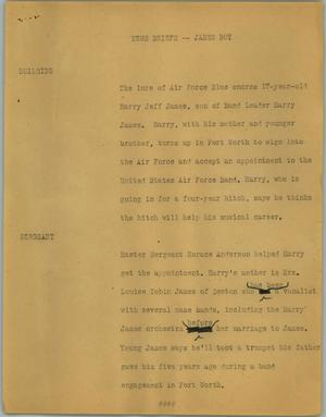 Primary view of object titled '[News Script: News briefs - James boy]'.