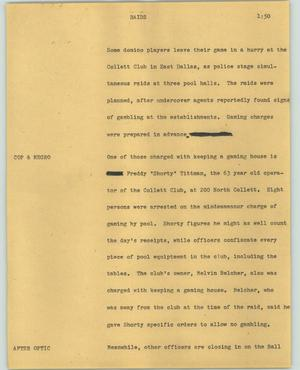 Primary view of object titled '[News Script: Raids]'.