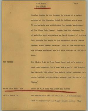 Primary view of object titled '[News Script: Sick flags]'.