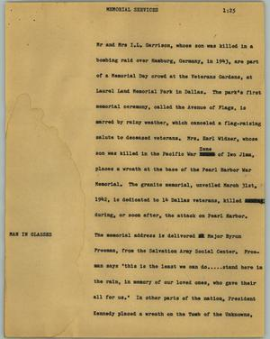 Primary view of object titled '[News Script: Memorial services]'.