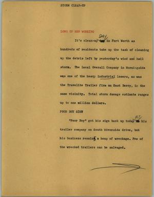 Primary view of object titled '[News Script: Storm clean-up]'.