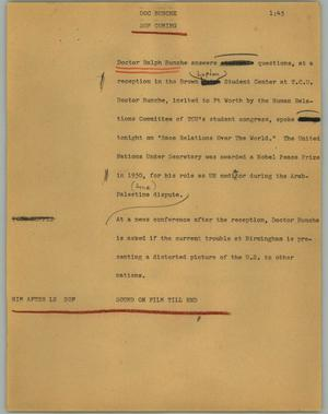 Primary view of object titled '[News Script: Doc Bunche]'.
